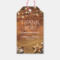Rustic Starfish Beach Lights Wedding Favor Gift Tags