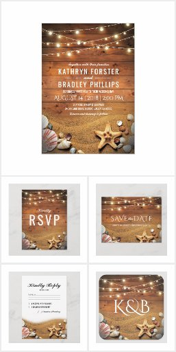 Rustic Starfish Beach Summer Invitation Suite