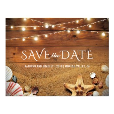 special_stationery Rustic Starfish Beach Tropical Save the Date Postcard