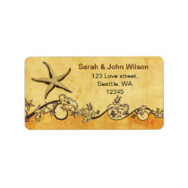 rustic starfish beach wedding address labels
