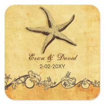 rustic starfish beach wedding  envelopes seals