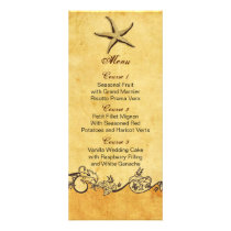 rustic starfish beach wedding menu cards