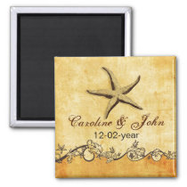 rustic starfish beach wedding save the date magnet