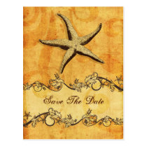 rustic starfish beach wedding save the date postcard