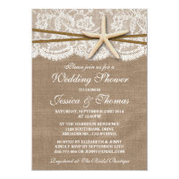 Rustic Starfish Beach Wedding Shower Invitations