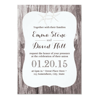 Rustic Starfish Driftwood Background Wedding 5x7 Paper Invitation Card