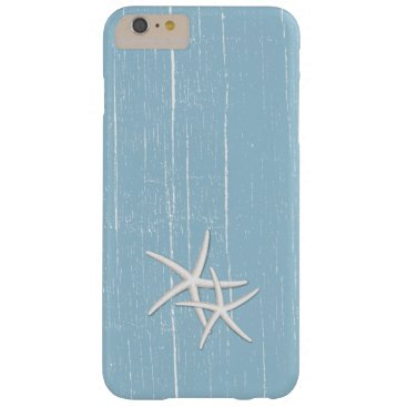 Beach Themed Rustic Starfish Mint Blue Beach Theme Barely There iPhone 6 Plus Case