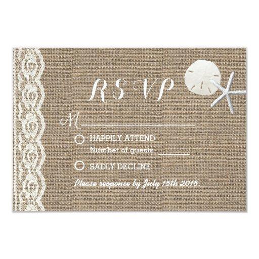 Rustic Starfish & Sand Dollar Beach Wedding RSVP Custom Invitations
