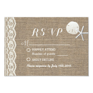 Rustic Starfish & Sand Dollar Beach Wedding RSVP 3.5x5 Paper Invitation Card