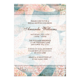Rustic Starfish Teal Blue Bridal Shower Invitation