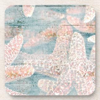 Rustic Starfish Teal Blue Coaster