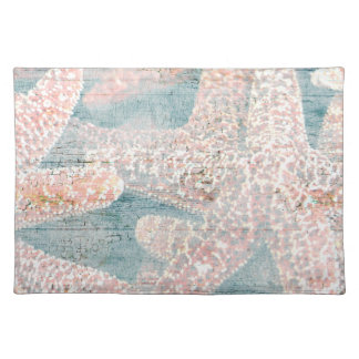 Rustic Starfish Teal Blue Cloth Placemat