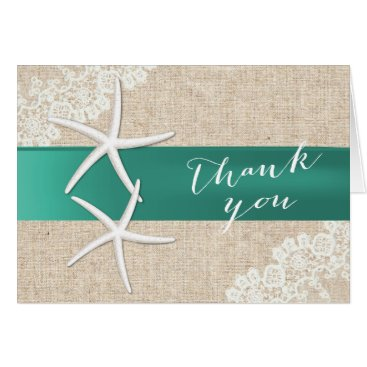 Beach Themed Rustic Starfish Teal Ribbon Vintage Thank You Card