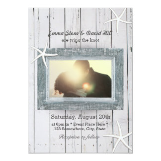 Rustic Starfish & Weathered Wood Photo Wedding Card