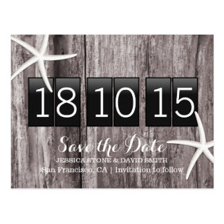 Rustic Starfish Wood Background Save the Date Postcard