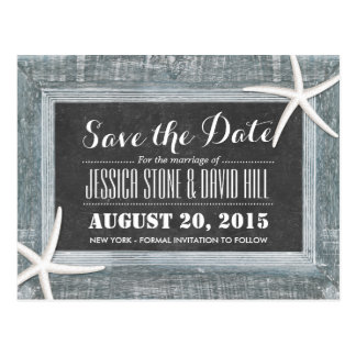 Rustic Starfish Wood & Chalkboard Save the Date Postcard