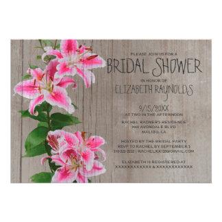 Rustic Stargazer Lily Bridal Shower Invitations Personalized Invitations