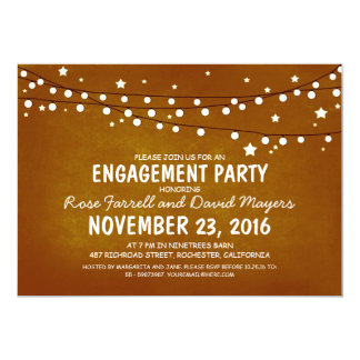 Rustic Starry Night Lights ENGAGEMENT PARTY Card