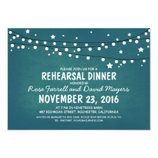 Rustic Starry Night Lights Rehearsal Dinner Card