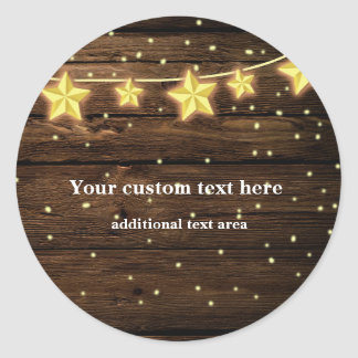 Rustic Stars String Lights Wood Baby Shower Classic Round Sticker