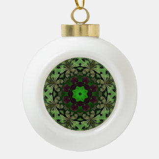 rustic steam punk green damask pattern ceramic ball christmas ornament