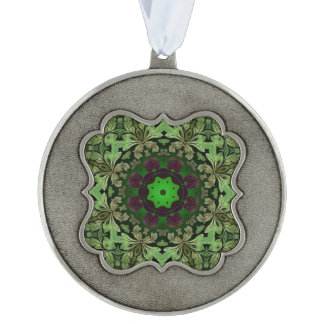 rustic steam punk green damask pattern ornament