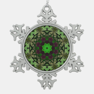 rustic steam punk green damask pattern snowflake pewter christmas ornament