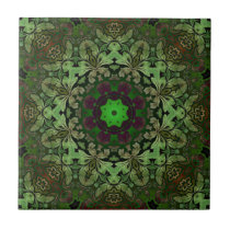Rustic Steampunk Bohemian forest green mandala Tile