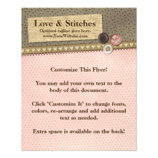 Rustic Stitched Ribbon & Buttons on Burlap Sewing Flyer