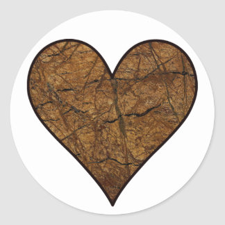 Rustic Stone Heart Classic Round Sticker