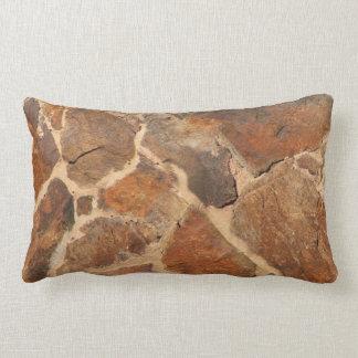 Rustic Stone Wall Structure Photo Warm Golden Lumbar Pillow