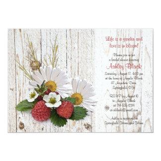 "Rustic Strawberries Daisy Bridal Shower Invitation 5"" X 7"" Invitation Card"
