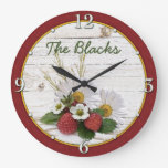Rustic Strawberry Daisy Floral Personalized Wall Clocks