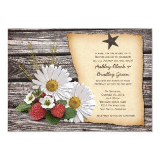 Rustic Strawberry Daisy Wedding Invitation