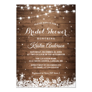 Rustic String Light Snowflake Winter Bridal Shower Invitation