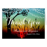Rustic String Light Sunset Wedding Thank You Cards