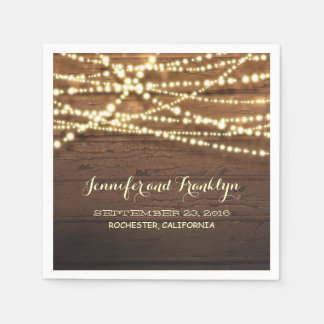 Rustic String Lights and Barn Wood Paper Napkin