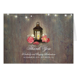 Rustic String Lights and Lantern Wedding Thank You Card