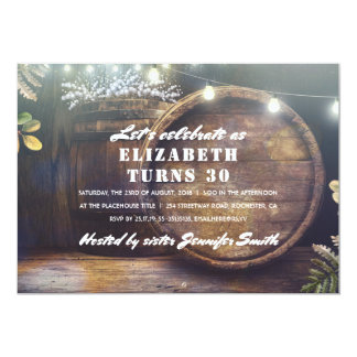 Rustic String Lights and Oak Barrel Birthday Party Card