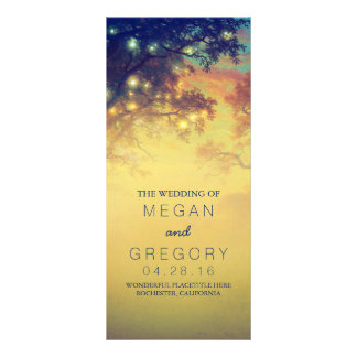 Rustic String Lights and Trees Wedding Programs