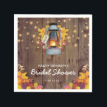 """Rustic String Lights Autumn Leaves Bridal Shower Napkin<br><div class=""""desc"""">Rustic country fall napkins featuring a wooden barn background,  autumn leaves,  a candle lit lantern,  string twinkle lights and a modern bridal shower template.</div>"""