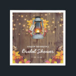 "Rustic String Lights Autumn Leaves Bridal Shower Napkin<br><div class=""desc"">Rustic country fall napkins featuring a wooden barn background,  autumn leaves,  a candle lit lantern,  string twinkle lights and a modern bridal shower template.</div>"