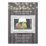 Rustic String Lights Barn Wood Photo Wedding Card at Zazzle