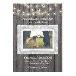 Rustic String Lights Barn Wood Photo Wedding Card at Zazzle