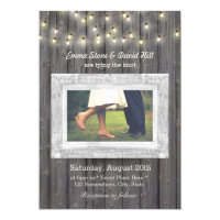Rustic String Lights Barn Wood Photo Wedding Card