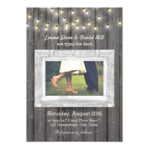 Rustic String Lights Barn Wood Photo Wedding Invitation