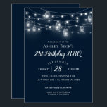"Rustic String Lights Birthday Party BBQ Invitation<br><div class=""desc"">Affordable custom printed birthday barbecue dinner invitations with an easy to use template for customization. This rustic chic design features strands of glowing string lights and mason jars on a dark navy blue background. Personalize the invite with your birthday BBQ party details or customize the text to use for any...</div>"