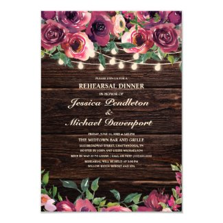 Rustic String Lights Burgundy Floral Rehearsal Invitation