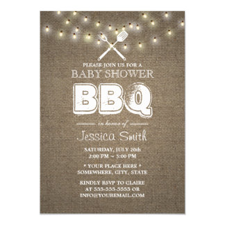 Rustic String Lights Burlap BBQ Baby Shower Card
