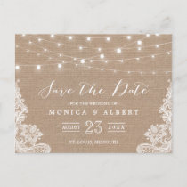 Rustic String Lights Burlap Lace | Save the Date Announcement Postcard